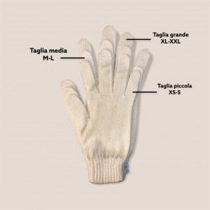 Le tre taglie (piccola, media, grande) dei guanti sovrapposte